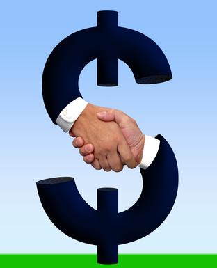 handshake with money sign